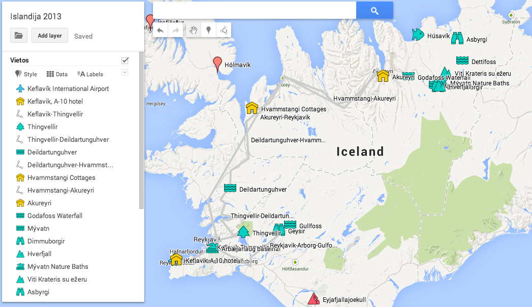 Iceland vacation report aras website used google maps engine lite to layout the plan and google maps to estimate driving times gumiabroncs Gallery